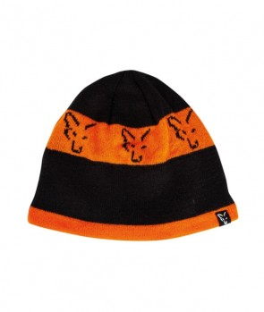 Fox Beanie Black Orange